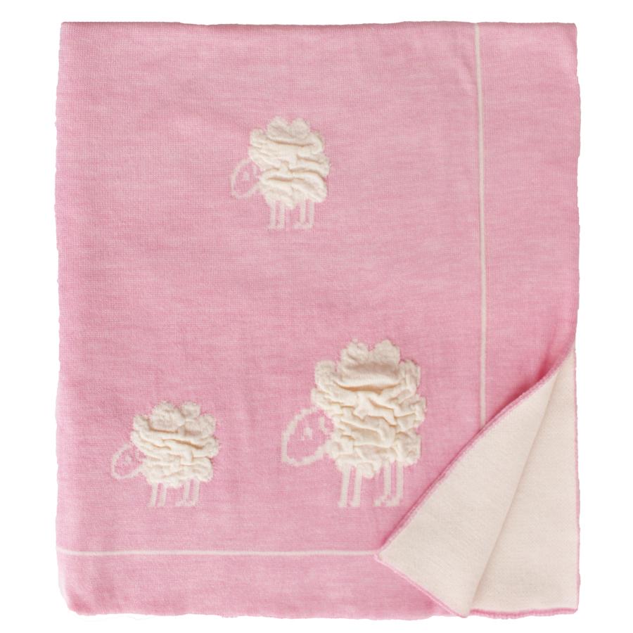 Плед Eagle Wolly розовый, ягнята, 100% шерсть, 85*110см