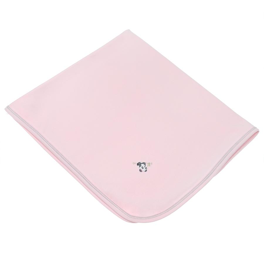 Плед Lyda Baby розовый, вышивка панда