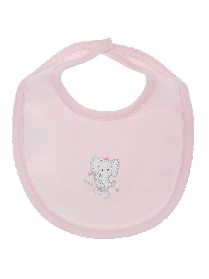Слюнявчик Lyda Baby розовый, вышивка слоники