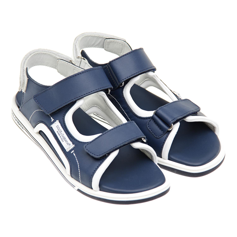 Кожаные сандалии с контрастной отделкой