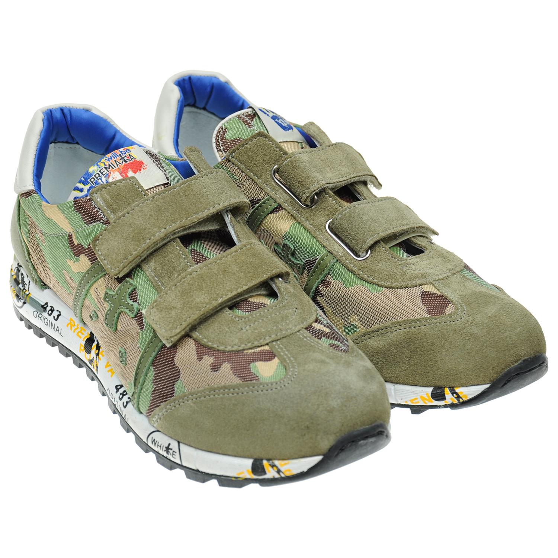 Замшевые камуфляжные кроссовки на липучках