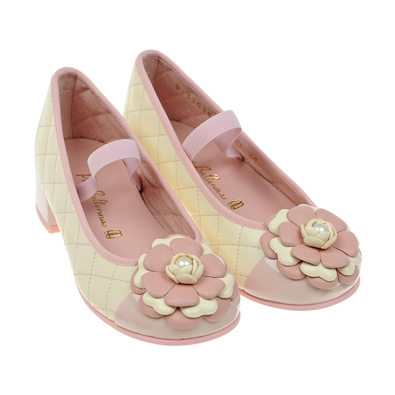 Купить со скидкой Туфли с цветочной аппликацией и лаковой вставкой