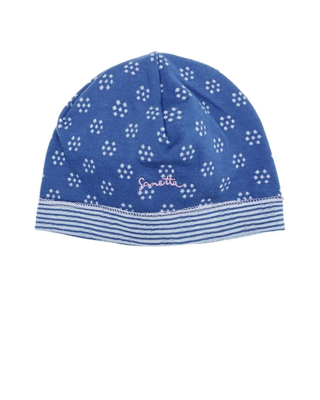 Шапка  с цветочным узоромШапки<br>Синяя шапка Sanetta fiftyseven из хлопкового трикотажа с цветочным точечным узором. Нижний края шапки в тонкую бело-голубую полоску.