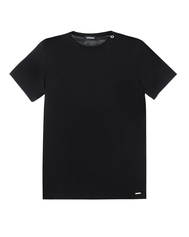 Хлопковая футболка с люверсом DieselФутболки, Майки, Поло<br>Черная футболка Diesel выполнена из мягкого хлопкового джерси. Классическая модель украшена кольцом, продетым в люверс на рифленом воротнике.
