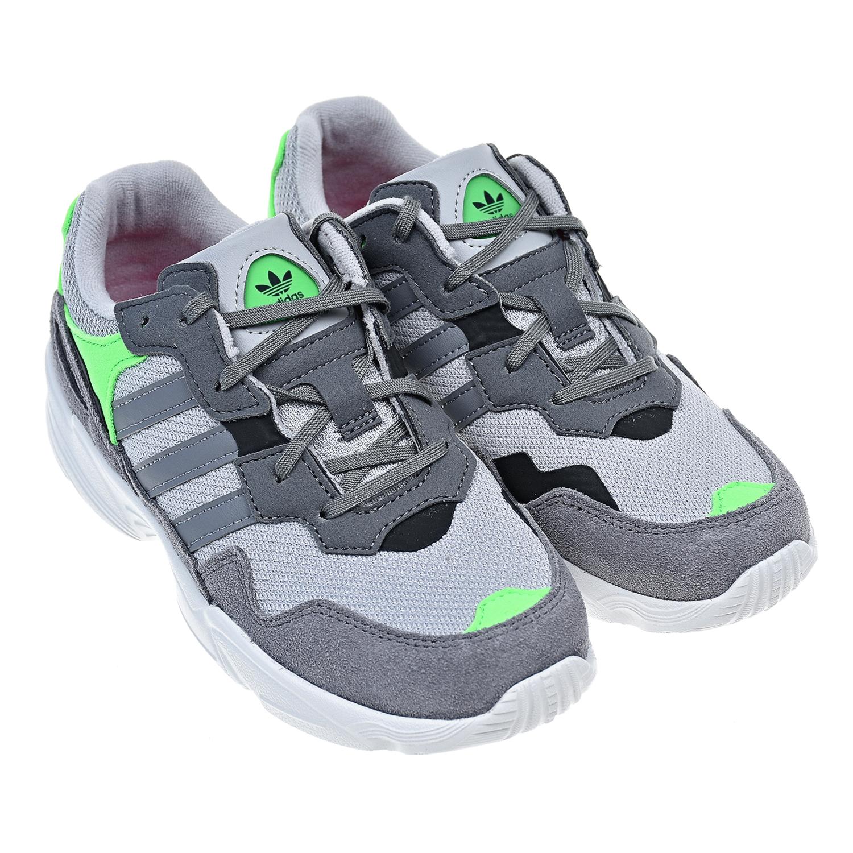 Купить Кроссовки из текстиля и замши с зелеными вставками Adidas детские, Серый, Верх:нат.кожа, текстиль, подкладка:текстиль, подошва:полимерные материалы