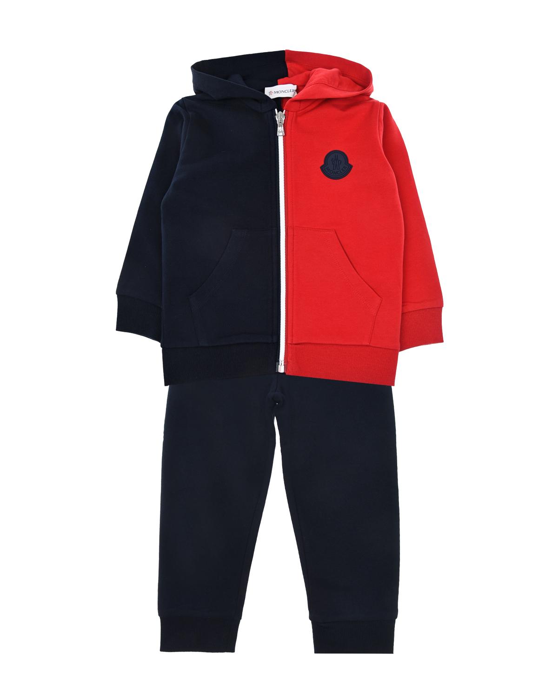 Купить Спортивный костюм из толстовки и брюк Moncler детский, Синий, 95%хлопок+5%эластан, 100%хлопок