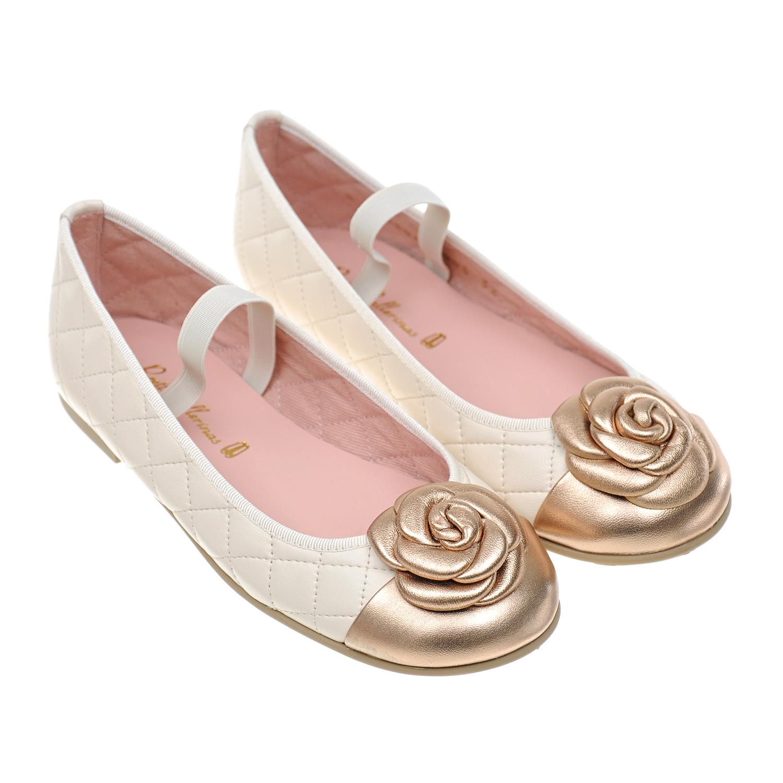 Купить Стеганые туфли с декором Pretty Ballerinas детские, Кремовый, верх:нат.кожа, подкладка:текстиль, подошва:полимерные материалы