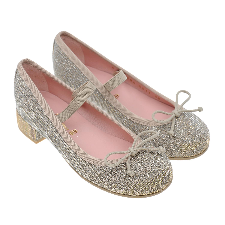 Купить Туфли с бантиками Pretty Ballerinas детские, Нет цвета, верх:текстиль, подкладка:нат.кожа, подошва:полимерные материалы