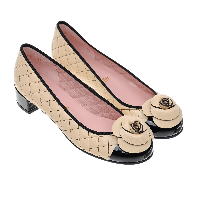 Купить Туфли с цветочной аппликацией Pretty Ballerinas детские, Кремовый, верх:нат.кожа, подкладка:нат.кожа, подошва:полимерные материалы