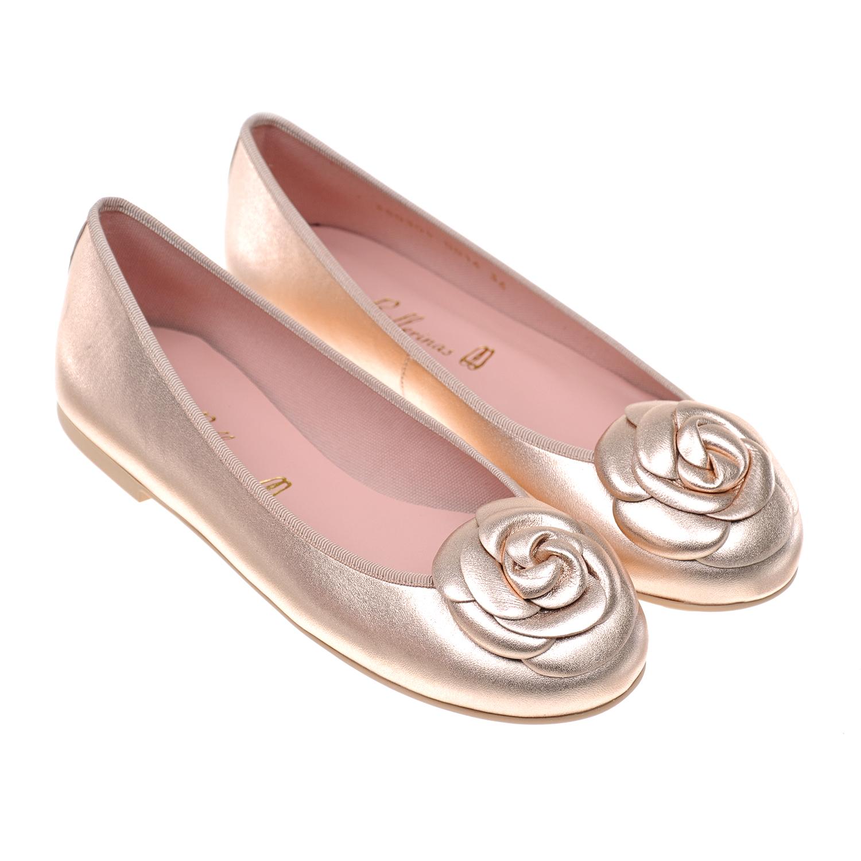 Купить Золотистые балетки с декором Pretty Ballerinas детские, Золотой, верх:нат.кожа, подкладка:нат.кожа. текстиль, подошва:полимерные материалы