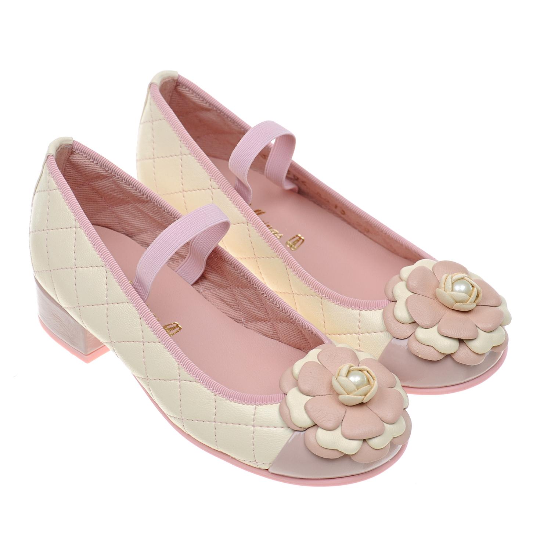 Купить Кожаные туфли с декором Pretty Ballerinas детские, Кремовый, верх:нат.кожа, подкладка:нат.кожа, подошва:полимерные материалы