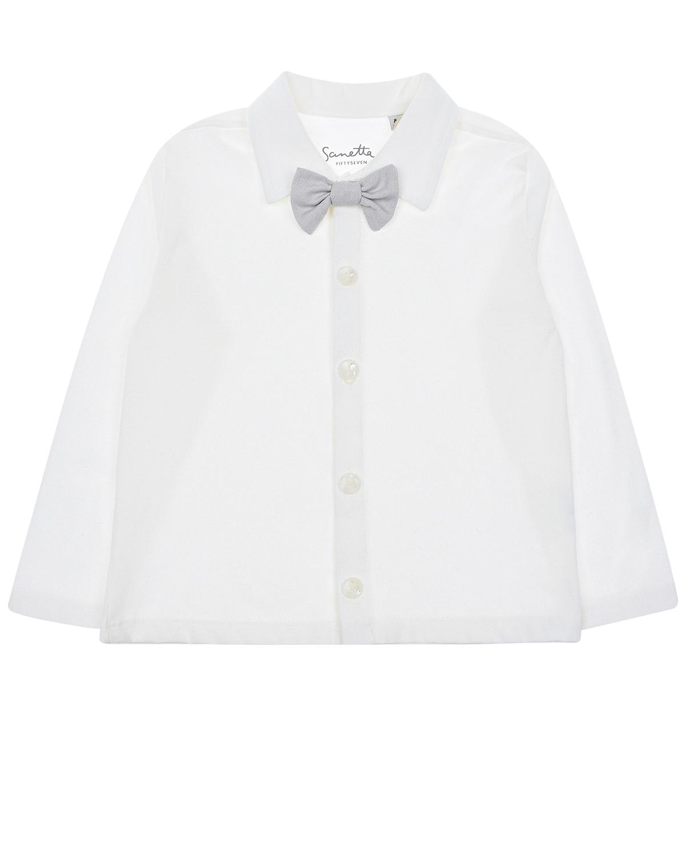 Купить Рубашка из хлопка с галстуком-бабочкой Sanetta fiftyseven детская, Кремовый, 100%хлопок