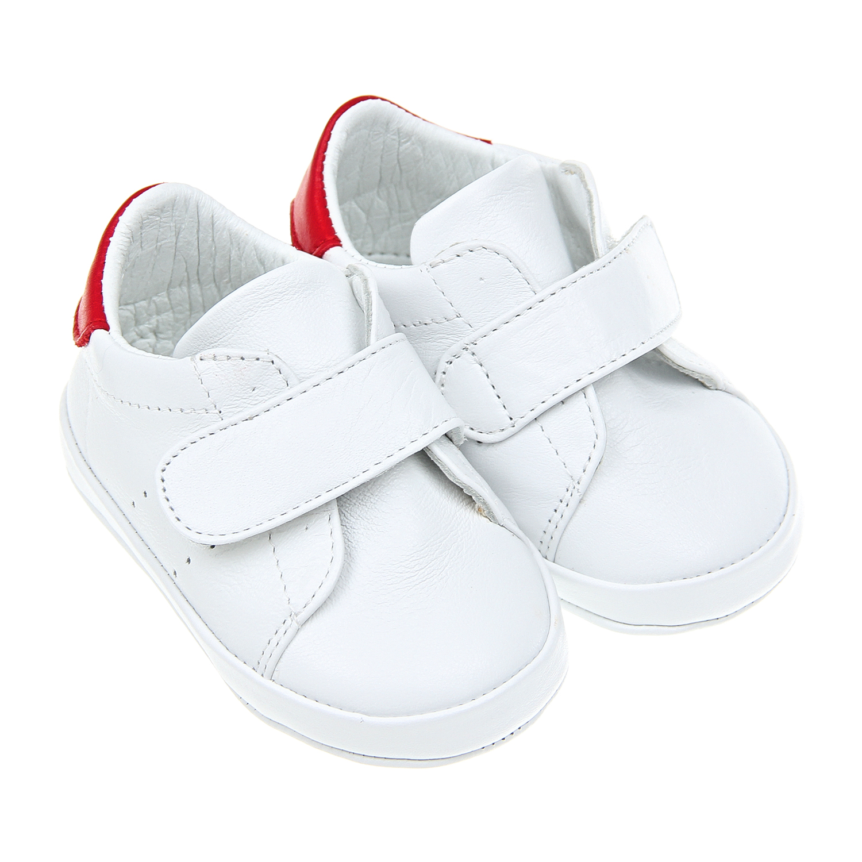 Белые пинетки-кеды из кожи Baby Chick детские фото