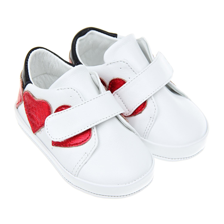 Белые пинетки-кеды с красными сердцами Baby Chick детские фото