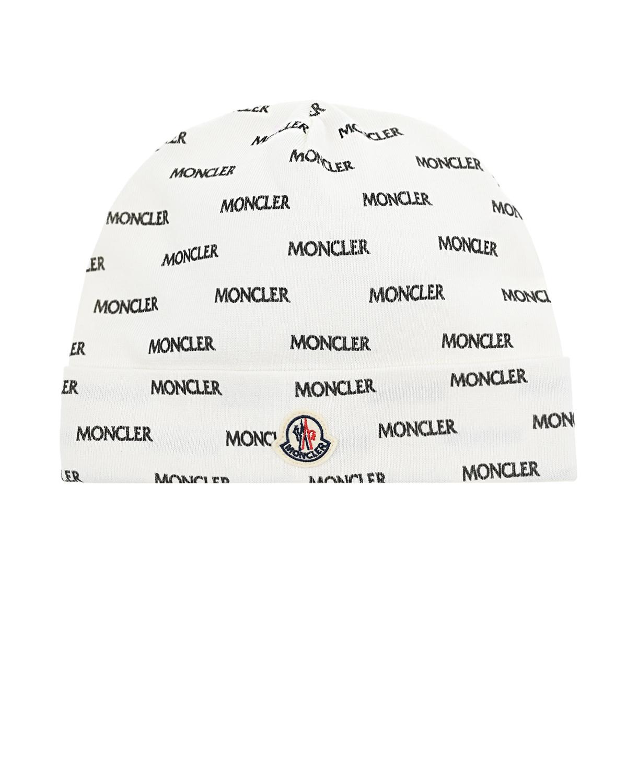 Купить Белая шапка с логотипом Moncler детская, Белый, 100%хлопок
