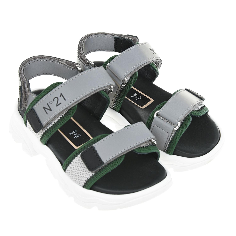 Серые сандалии с зеленой отделкой №21 детские фото