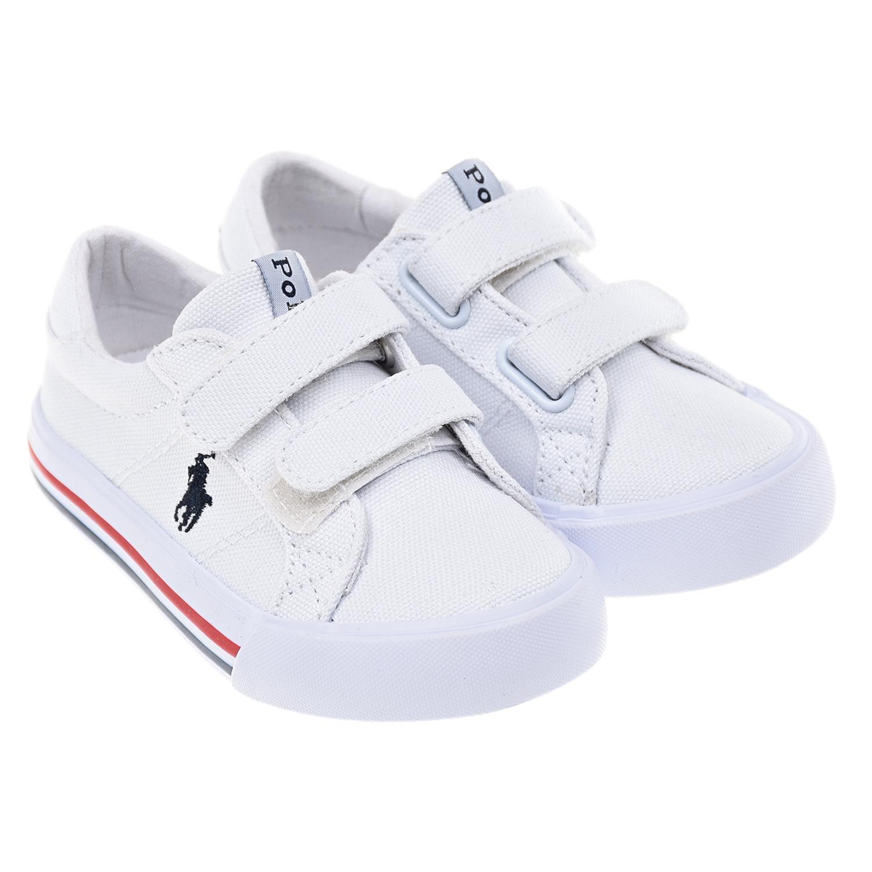 Купить Белые базовые кеды на липучке Polo Ralph Lauren детские, Белый, верх:100%текстиль, подкладка:100%текстиль, подошва:100%полимерные материалы