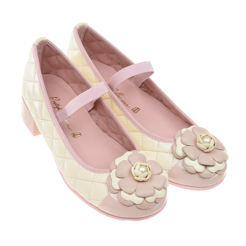 Купить Стеганые туфли с цветочной аппликацией Pretty Ballerinas детские, Кремовый, верх:100%нат.кожа, подкладка:100%текстиль, 100%нат.кожа, подошва:100%полимерные материалы