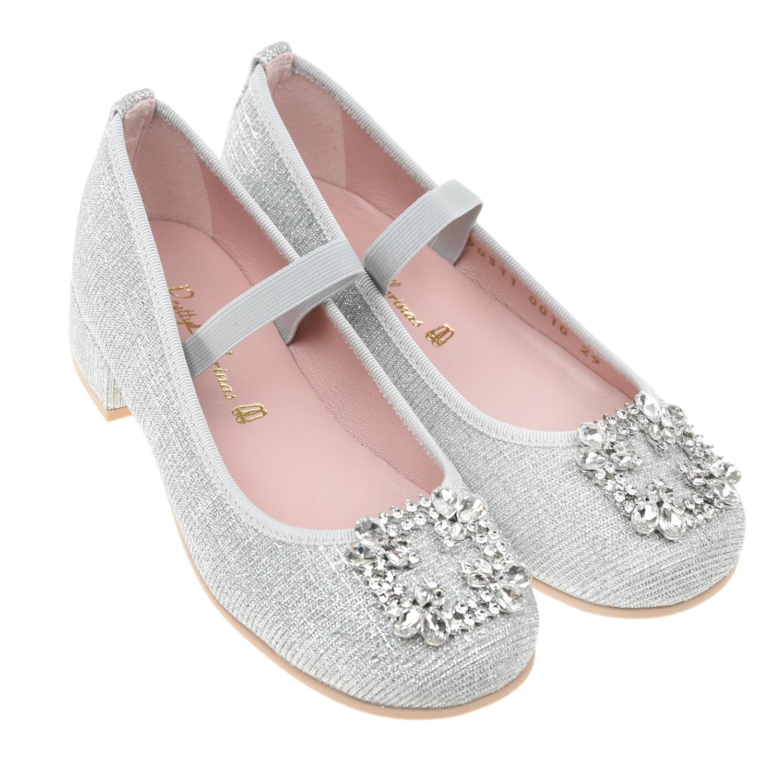 Купить Серебристые туфли с кристаллами и стразами Pretty Ballerinas детские, Серебристый, верх-100%текстиль, подкладка-100%нат.кожа, подошва-100%полимерные материалы