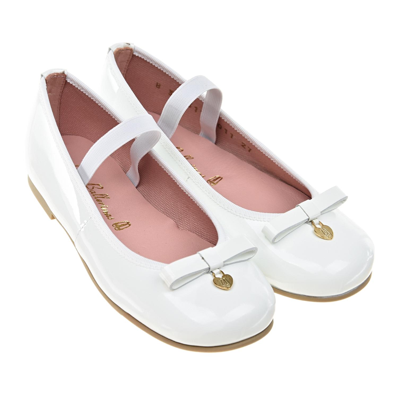 Купить Лакированные туфли белого цвета Pretty Ballerinas детские, Белый, верх-100%нат.кожа, подкладка-100%нат.кожа, подошва-100%полимерные материалы