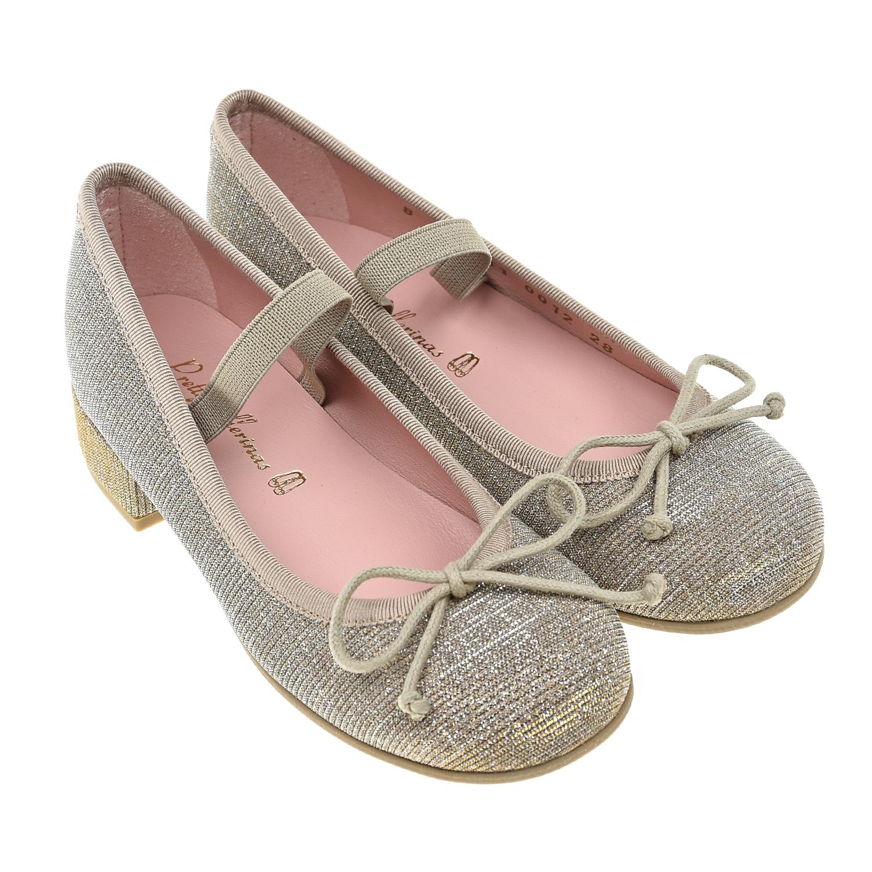 Купить Золотистые туфли на каблуке Pretty Ballerinas детские, Нет цвета, верх-100%текстиль, подкладка-100%нат.кожа, подошва-100%полимерные материалы