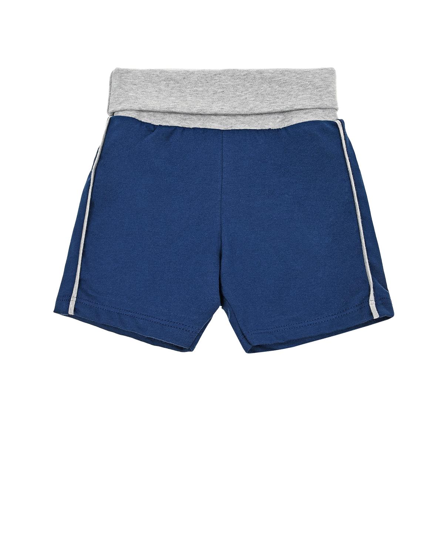 Купить Синие шорты с серым поясом Sanetta fiftyseven, Синий, 100%хлопок