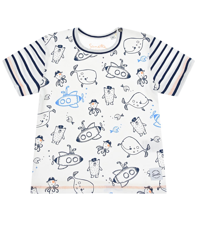 """Белая футболка с принтом """"Подводные лодки, рыбы и осьминоги"""" Sanetta Kidswear детская фото"""