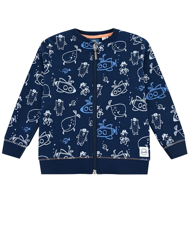 Купить Спортивная куртка с принтом Подводные лодки, рыбы, осьминоги Sanetta Kidswear детская, Синий, 95%хлопок+5%эластан