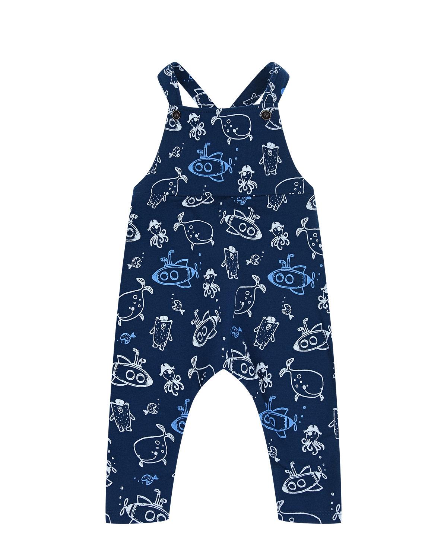 Купить Полукомбинезон с принтом Подводные лодки, рыбы, осьминоги Sanetta Kidswear детский, Синий, 95%хлопок+5%эластан
