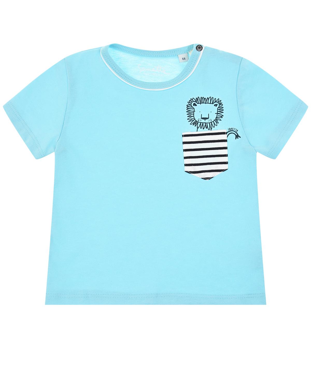 Купить Футболка с нагрудным карманом в полоску Sanetta Kidswear, Голубой, 100%хлопок