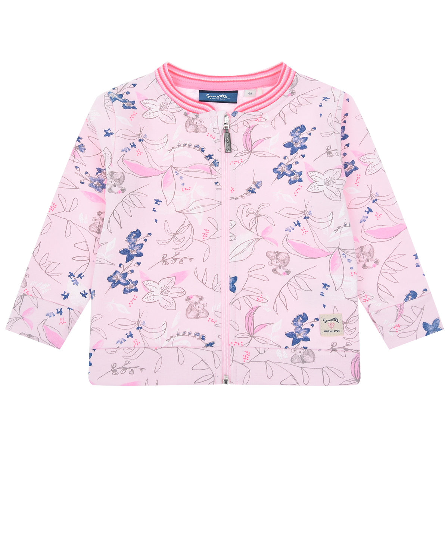 Розовая спортивная куртка с цветочным принтом Sanetta Kidswear детская фото