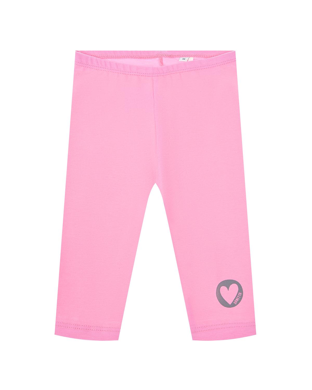 Купить Розовые леггинсы с сердечком Sanetta Kidswear детские, Розовый, 95%хлопок+5%эластан