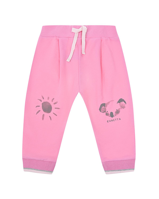 Купить Спортивные брюки с принтом Солнце и Коала Sanetta Kidswear, Розовый, 95%хлопок+5%эластан