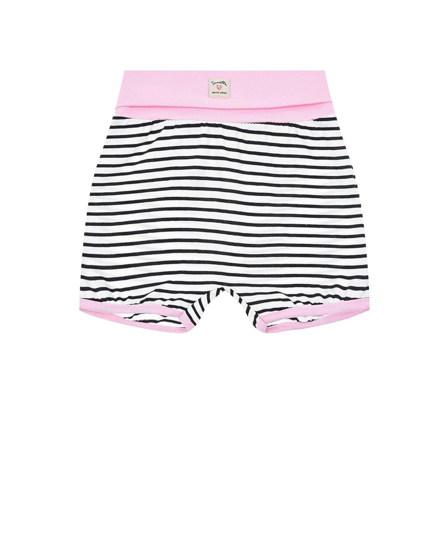 Купить Шорты в полоску с розовой отделкой Sanetta Kidswear детские, Мультиколор, 100%хлопок