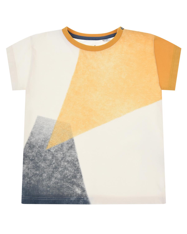 Купить Хлопковая футболка color block Sanetta Pure, Мультиколор, 100%хлопок