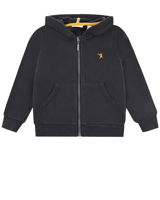 Купить Черная спортивная куртка из хлопка Sanetta Pure детская, Черный, 100%хлопок