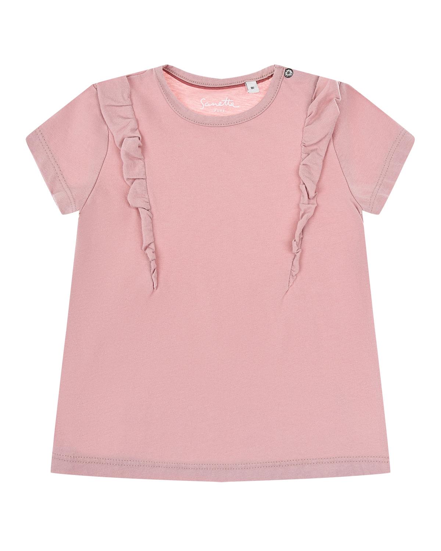 Купить Футболка пудрового цвета с рюшами Sanetta Pure детская, Розовый, 100%хлопок