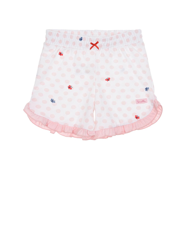 Купить Белые шорты в розовый горошек Sanetta fiftyseven детские, Белый, 100%хлопок