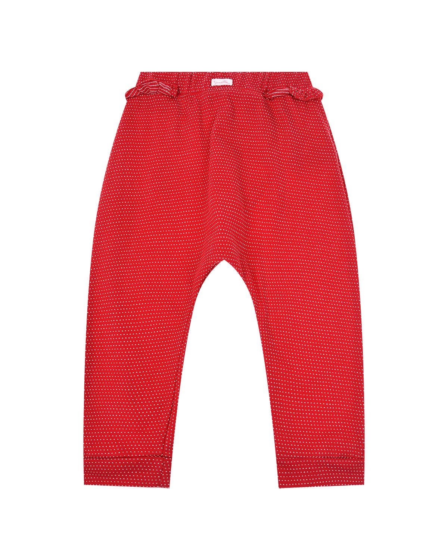 Красные брюки в белый горошек Sanetta fiftyseven детские фото