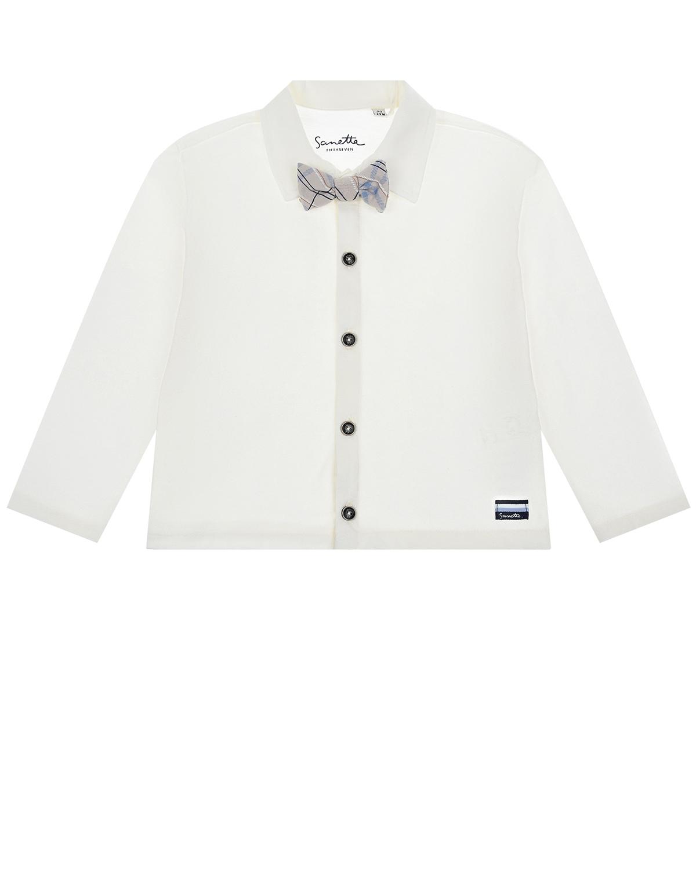 Купить Белая рубашка с серой бабочкой Sanetta fiftyseven детская, Белый, 100%хлопок