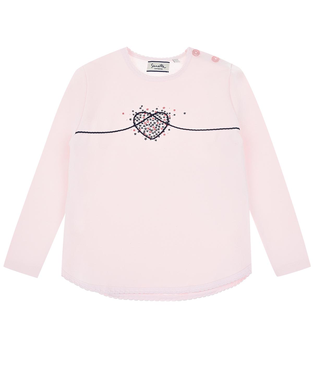Купить Пудровая толстовка с принтом Сердечки Sanetta fiftyseven детская, Розовый, 95%хлопок+5%эластан