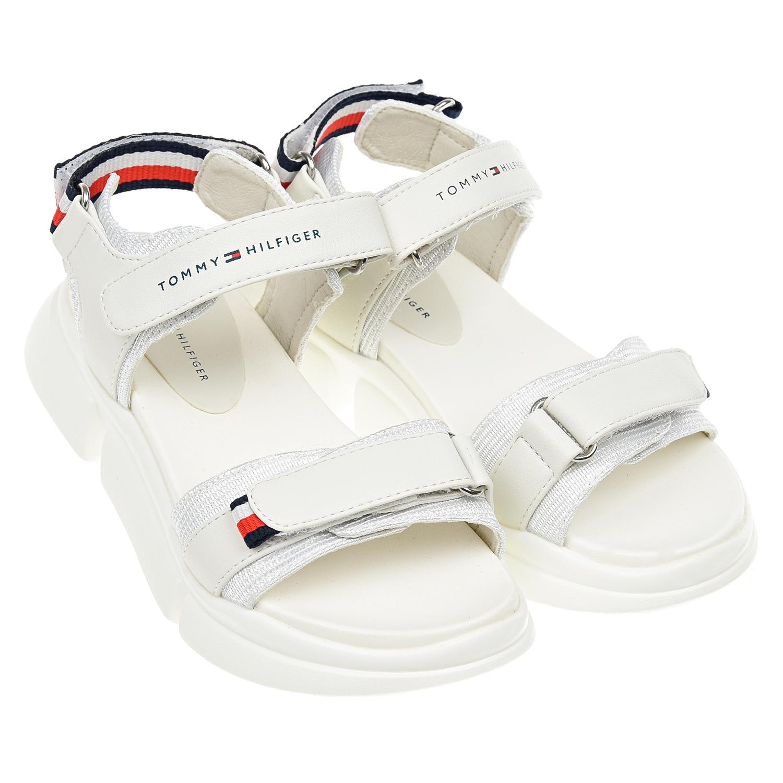 Купить со скидкой Белые босоножки на липучках Tommy Hilfiger детские
