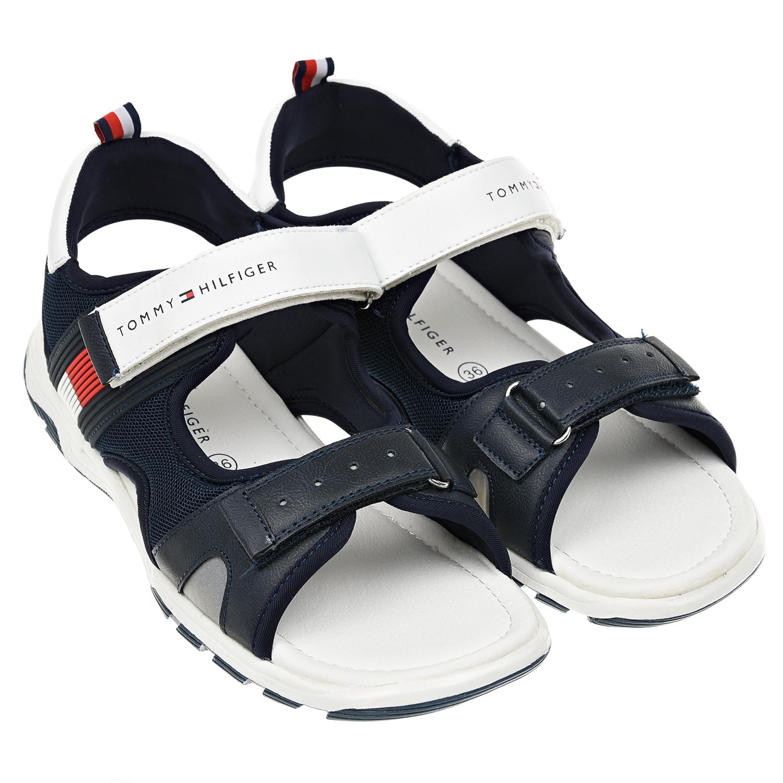 Купить Темно-синие сандалии с белой отделкой Tommy Hilfiger детское, Синий, верх:40%нейлон+30%полиэстер+30%полиуретан, подкладка:100%полиэстер, 100%полиуретан, подошва:100%термополиуретан