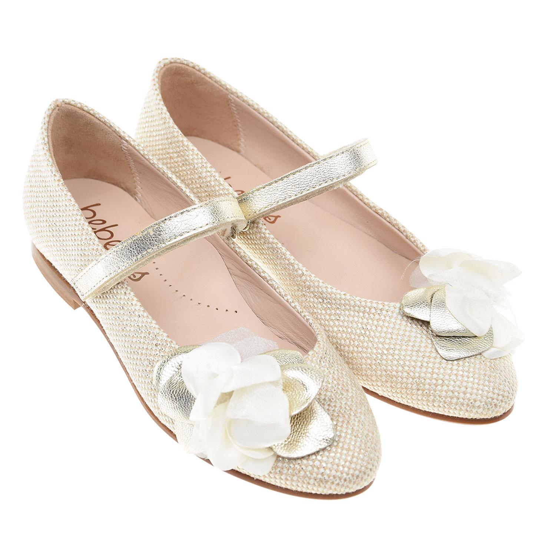 Туфли с аппликацией в виде цветка Beberlis детские фото