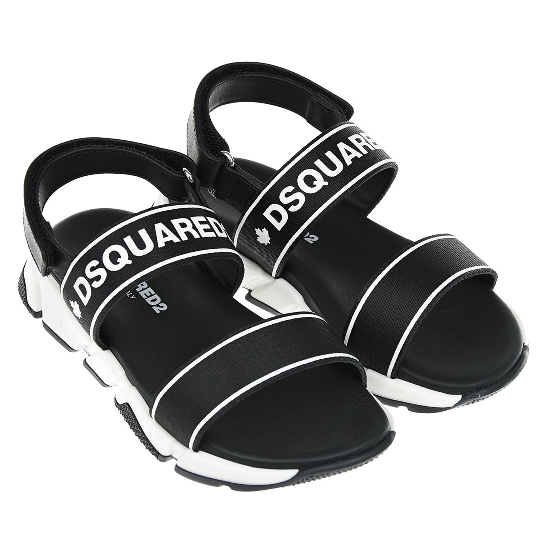 Купить Черные сандалии с белым логотипом Dsquared2 детские, Черный, верх: 70%полиэстер+30%нат.кожа, подкладка: 100%нат.кожа, подошва: 100%терморезина