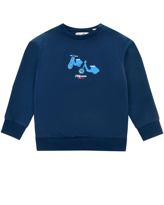 Купить Синий свитшот с принтом Мопеды Sanetta fiftyseven детский, 95%хлопок+5%эластан