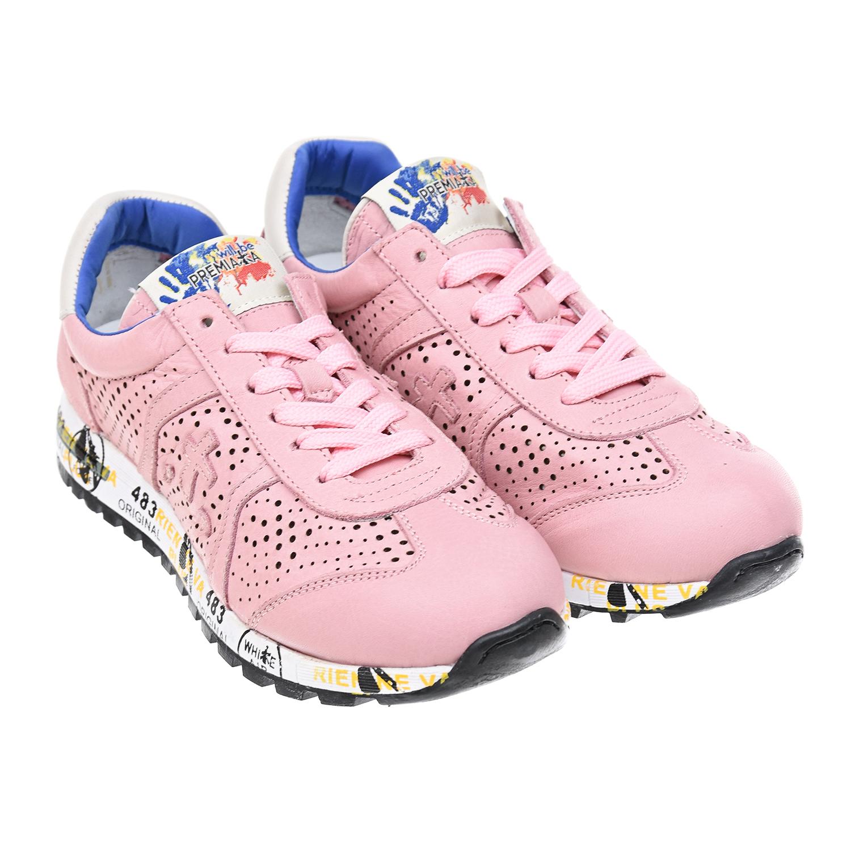 Розовые кроссовки на шнурках с перфорацией will be Premiata детские фото