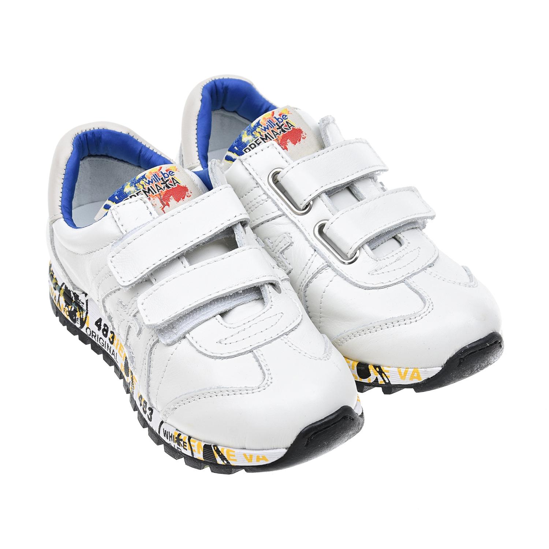 Фото #1: Кожаные кроссовки на липучках с надписями на подошве will be Premiata детские