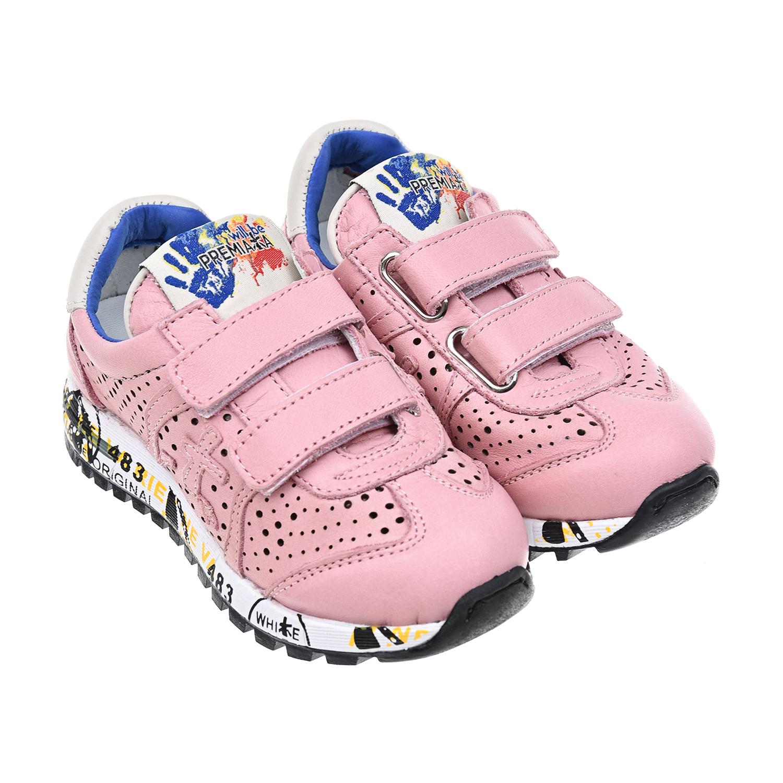 Кожаные кроссовки на липучках с перфорацией will be Premiata детские фото