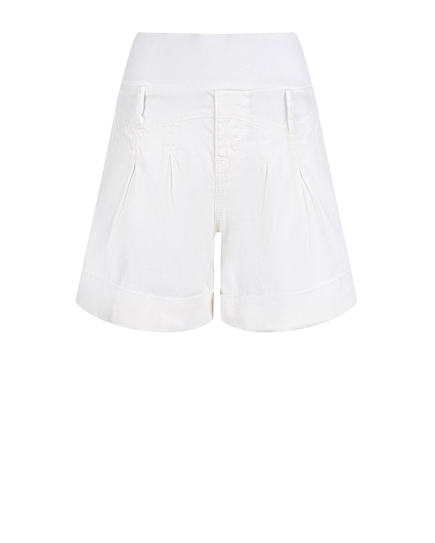 Купить Белые шорты для беременных с эластичным поясом Pietro Brunelli, Белый, 55%лен+43%хлопок+2%эластан, 98%хлопок+2%эластан